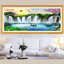 5D Diy Diamond Painting Cross Stitch Water Falls Diamond Embroidery Natural landscapes Rubik's Cube Full Drill Mosaic Pictures(China)