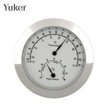 Yuker Round Moisture Thermometer Humidity Hygrometer Case For Guitar Violin Bass Portable New Alloy Silver(China)