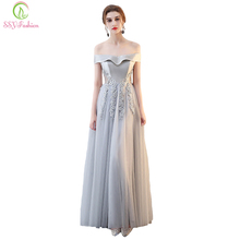 SSYFashion New Evening Dress The Banquet Elegant Simple Grey Satin Lace Appliques Floor-length Party Formal Gown Custom Made(China)