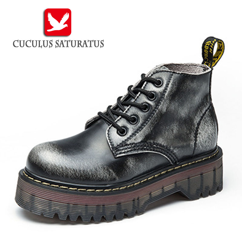 Cuculus New 2017 Fashion Martin Boots Autumn Women Leather Motorcycle Boots Casual Round Toe Zip Plush Women Ankle Boots 1460-11<br>