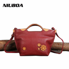 NIUBOA New Genuine Leather Bag Woman Manual Real Leather Handbags Tote Vintage Casual Shoulder Bag Cowhide Skin Messenger Bags(China)