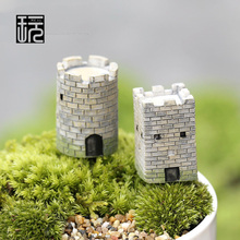Resin Vintage Crafts Mini Castle Model Ornaments Fairy Garden Miniatures Home desktop/ Succulents/ Micro Landscape Decoration