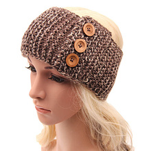 2017 New Spring Winter Headband Three-Button Hairband Crochet Knit Knitted Headwrap Headband Ear Warmer Hair Muffs Band Bow W1