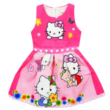 Autumn Baby Girls Dress Loving Cartoon Hello Kitty Dress Christmas Party Dress For 3-8 Years Old(China)
