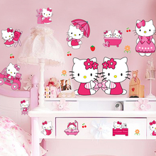 Brand 2017 sticker cheap kids bedroom decor 3d hello kitty stickers cartoon wall stickers for kids roomsadesivo de parede muur(China)