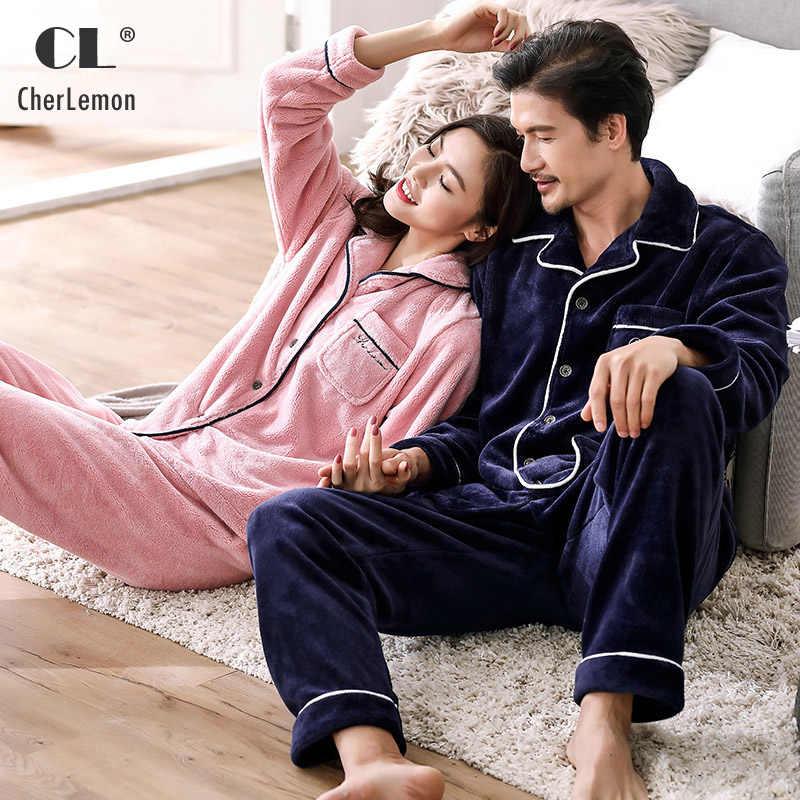 CherLemon зимние Пары Соответствующие пижамы Для мужчин классический  толстый фланелевый флисовый Домашняя одежда теплые мягкие Для cb5cf16015958
