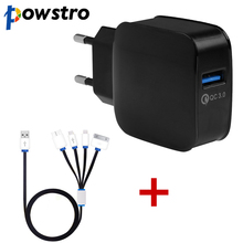 Powstro QC3.0 fast charger+4 in 1 Multi USB Charging Cable Charger Cord for iPhone 6S 6 Samsung Note 3 Android Phone Power Bank