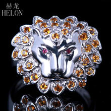 HELON Solid 14k White Gold 3D Lion Face 0.6ct Genuine Rubies & Citrine Jewelry Ring Engagement Wedding Party Fine Jewelry Ring