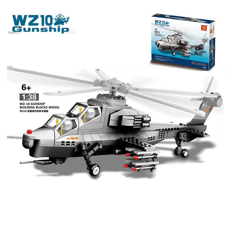 New Military Army WZ10 Gunship Double Seats Fighter Aircraft Model Building Blocks Brick Educational Toys For Collection<br>