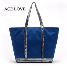 2017 New Arrival Fashion Canvas Tote Female Single Shopping Bags Sequins Large Capacity Women Canvas Casual Handbag Shoulder bag
