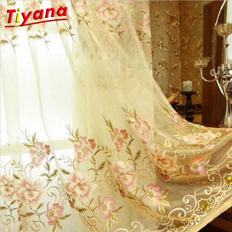 European Embroidered Blackout Curtains for Living Room Window Curtains for Bedroom Luxury Peony Curtains Hot Sale NEW WP231 *15