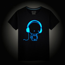 Night Shining Sports T-shirt for Boys Stars Children's Shirts Noctilucence Luminous Tees for kids Top Hip Hop Party Club Clothes