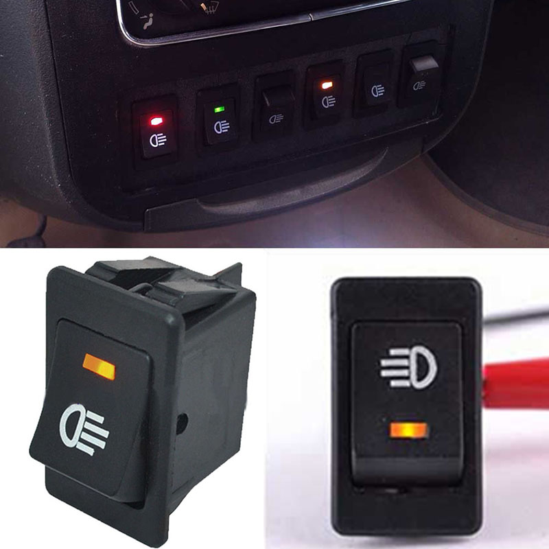 Durable 4 Pins Yellow LED Indicator Rocker Switch Car On/Off Rocker on