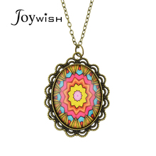 Joywish Vintage Style Antique Gold Color Chain Colorful Geometric Flower Pattern Elliptical Pendant Necklace For Women
