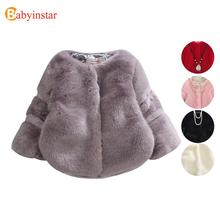Fashion Kids Girl Similar Fur Coat Trendy Spring Winter Children Artificial Fur Outerwear Jacket Warm Child Thickening Clothing(China)