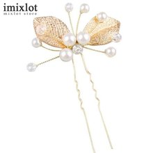 6Pcs Simulate Pearl Hairpins Gold Leaf Wedding Bridal Hair Pins Hair Jewelry Accessories Hairwear Crystal Hair Clips For Women(China)