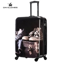 DAVIDJONES 20 inches Carry-on luggage hardside vintage print trolly suitcase(China)