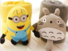 Aeruiy cute soft plush my neighbor gray totoro/ Despicable Me yellow minions toy with a air condition blanket, birthday gift