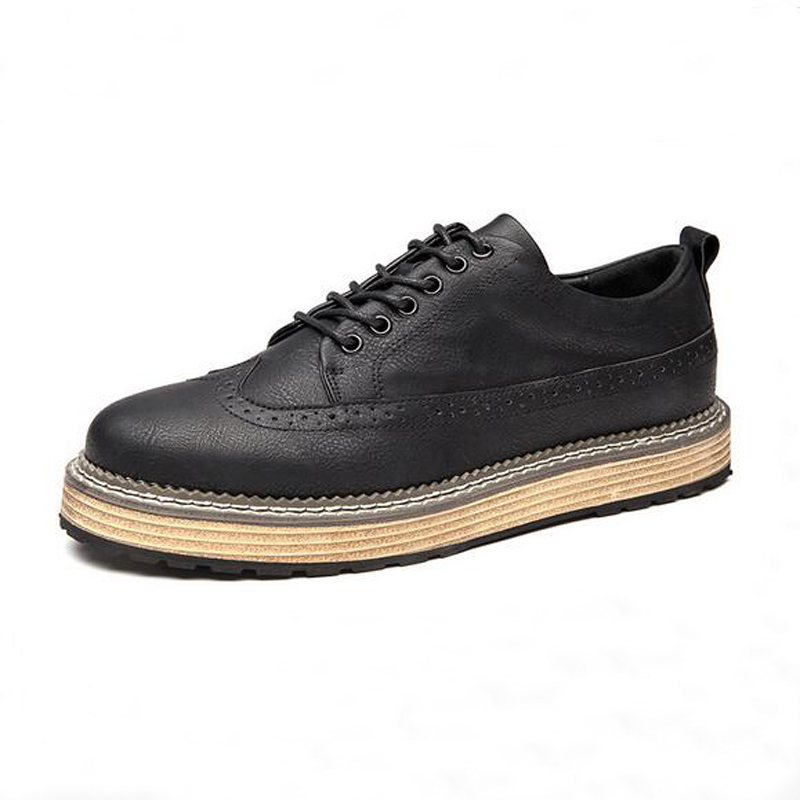 Plus Size 45 Men Brogue Shoes New Split Leather Breathable Casual Shoes Mens Male Vintage Flats Grey Black Brown<br>