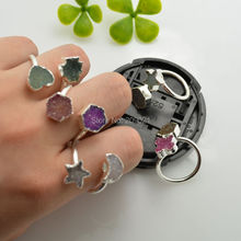 4Pcs Silver plated  Double Druzy Drusy Quartz Stone Moon/Star/Heart/ Rings Jewelry Finding