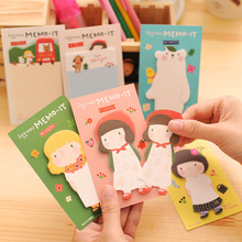 Coloffice Cute cartoon flower girls random memo pads Post It memo sticker sticky notes Gift Stationery School office suppliers