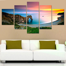 5 Piece canvas art Oil Painting On Canvas Famous Landscape Mediterranean Sea Modern HD Picture Modular decoration for home\C-592(China)