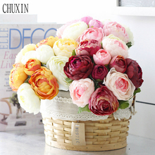 Fashion 24cm Mini Wedding Decoration Bride Hand Flower Peony Fake Flowers Bouquet For Table Accessory Home Decoration Fleurs(China)