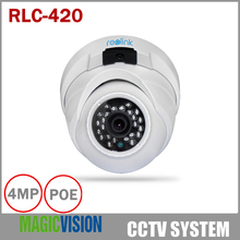 Reolink RLC-420 4MP Security Camera POE Outdoor Dome with Night Vision 100 Feet / Easy Setup Support Smartphone and Web View