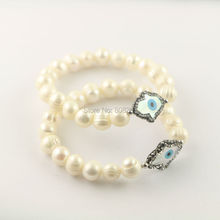 For Women 5Pcs Pave Rhinestone Crystal Evil eye Shell Stretch Bracelet , Pearl Charms Bracelets Jewelry Making
