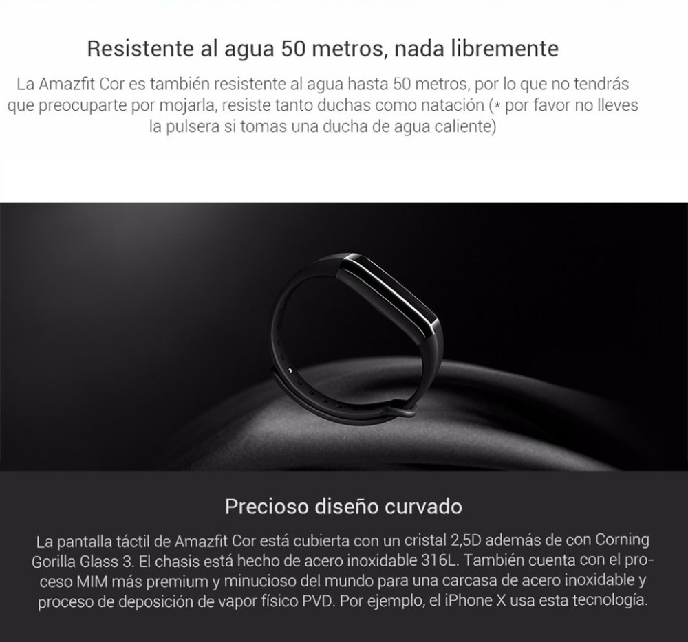 Original Huami Amazfit Cor Smart Bracelet MiDong band English Version Waterproof IPS 316L Stainless Steel Frame For Android IOS-13