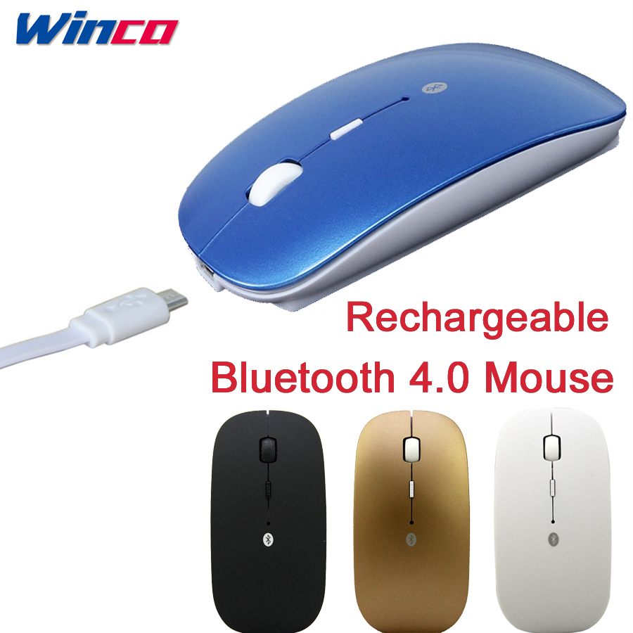 Rechargeable Bluetooth 4.0 Wireless Silent Mute Mouse Ultra Thin 2400DPI Mice for Android Tablet Apple Notebook PC(China)