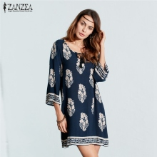 ZANZEA Women Sexy Mini Print Dress 2017 Elegant Retro 3/4 Sleeve Lace Up Long Tops Casual Loose Beach Dresses Vestidos Plus Size