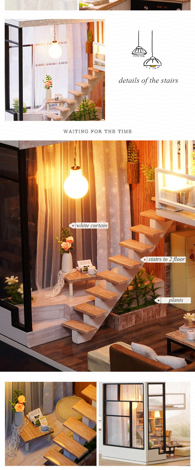 Wooden Miniature DIY Doll House Toy Assemble Kits 3D Miniature Dollhouse Toys With Furniture Lights for Birthday Gift L020 - Waiting Time (9)