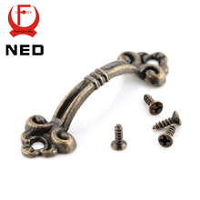 10pcs NED Handles Knobs Pendants Flowers For Drawer Wooden Jewelry Box Furniture Hardware Bronze Tone Handle Cabinet Pulls(China)