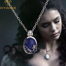 HOT Selling Movie Necklace The Vampire Diaries Katherine Natural Stone Necklace Pendant Chain Clavicle Necklace XY-N122