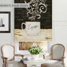 MOMO Blackout Window Curtains Roller Shades Blinds Thermal Insulated Fabric Custom Painting ,PRB set429-432