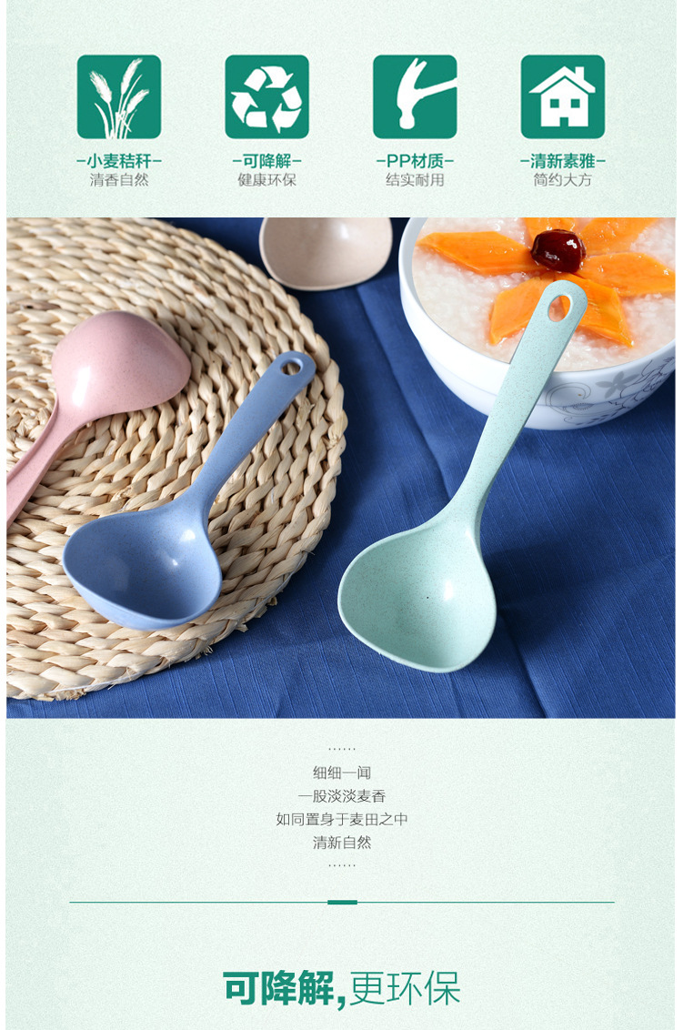 vanzlife Nordic wind ladle household creative Kitchen Spoon porridge Rice porridge large round plastic spoon tablewear 4