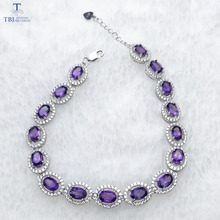 TBJ ,100% natural 16pcs of oval 4*6mm 8 ct amethyst bracelet in 925 silver ,classic design gemstone bracelet with gift box(China)