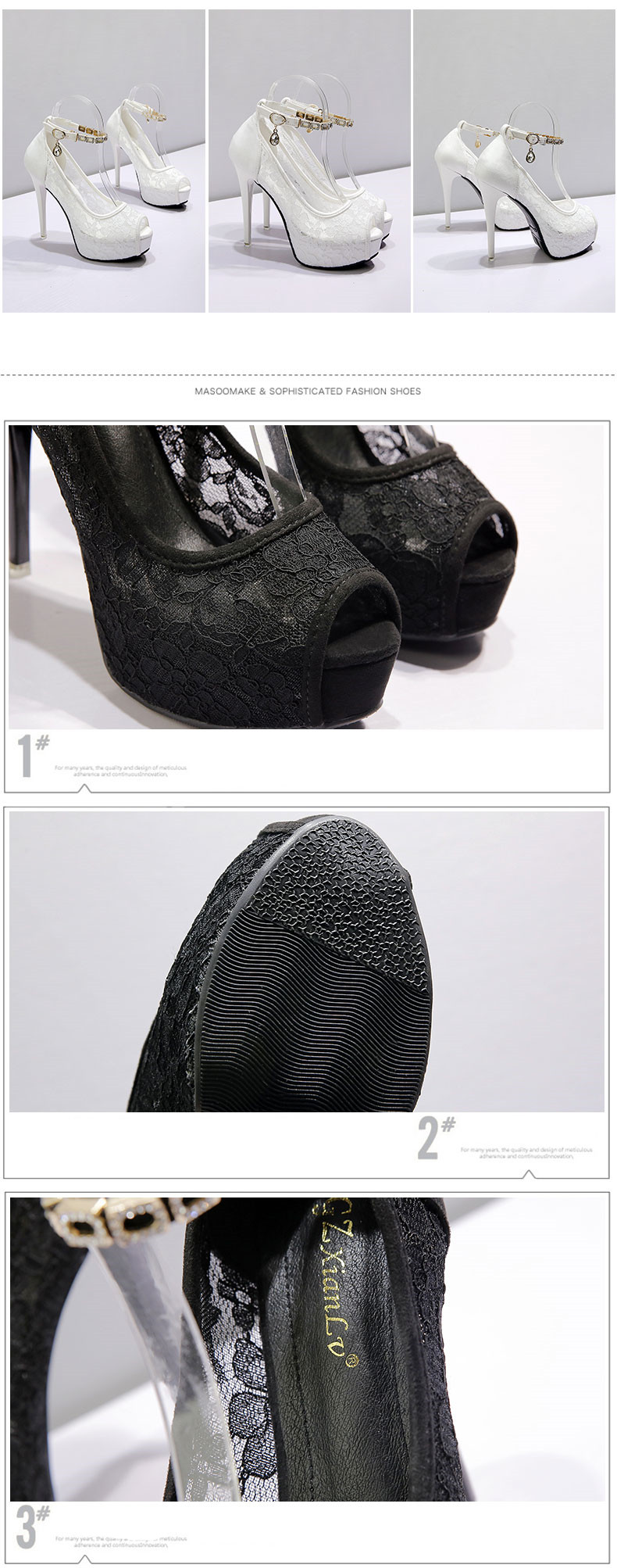 RUIDENG women super high heel wedding pumps 12cm peep toe sweet sexy party shoes lady lace platform 4cm thin heels 4