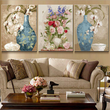 3 Pcs/Set Vintage Painting flower DIY Painting By Numbers Kits Acrylic Paint On Canvas Handpainted Oil Painting For Wall Artwork