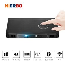 NIERBO LED 4K Projector Battery Inside Portable Windows 10 Projector Data Show Business projector Smartphone WiFi Bluetooth HDMI(China)