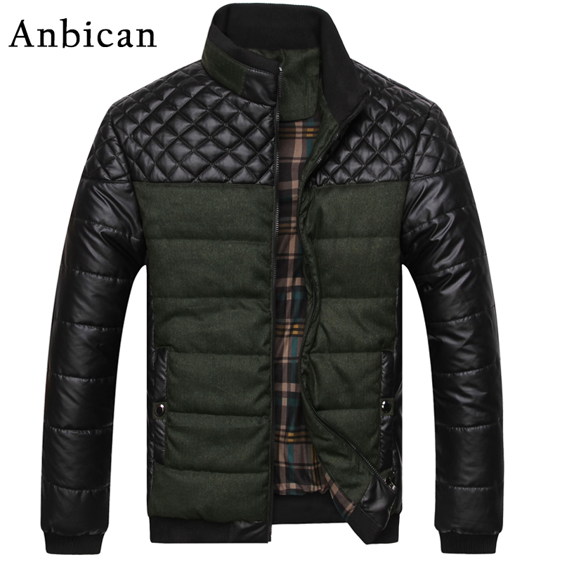 New Fashion Winter Parka Men PU Leather Patchwork Army Green Casual Jacket Man Thick Parka Coat Plus Size L-4XLОдежда и ак�е��уары<br><br><br>Aliexpress