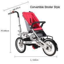 "Whole set sell Folding Bike Pushchair+ 1 Shopping Basket 16"" inch Baby Stroller 3 Wheels Mother Bike Convertible Stroller 3 in 1"