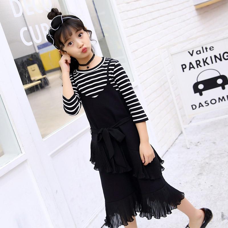 Childrens Garment Autumn New Pattern Girl Stripe Dress Suit Child Seven Part Sleeve T-shirts Suit 2 Pieces Kids Clothing <br>