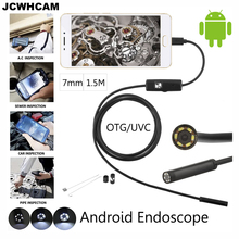 JCWHCAM 1.5M USB Android Endoscope Camera 7mm Len Flexible Snake USB Pipe Portable Inspection Micro USB Borescope Camera 2/5M(China)