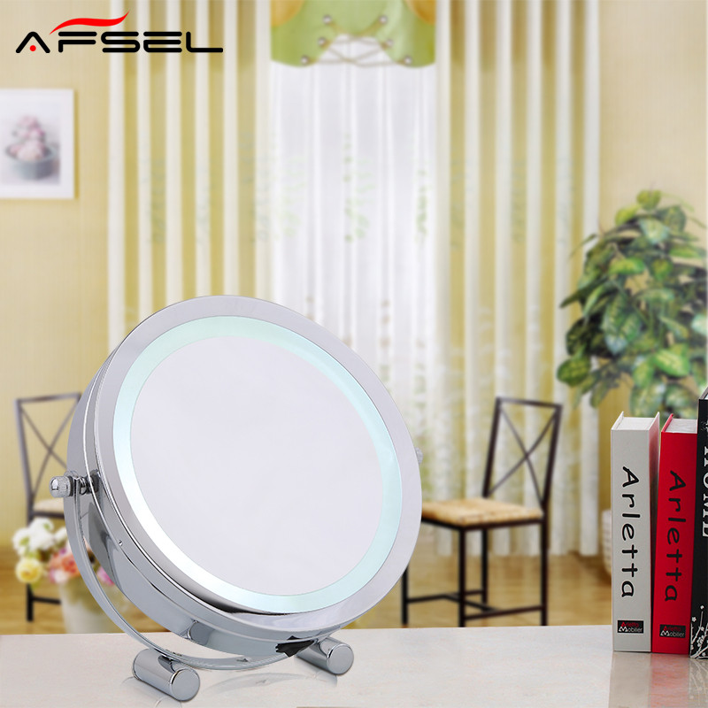 AFSEL New Pattern 7 Inch LED Table Mirror Double Sided Makeup Mirror Lighted Cosmetic Mirror Holiday Gift  Lady Compact  Mirror<br>