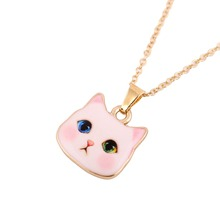 Shuangshuo 2017 Bohemian New Colorful Cute Animal Necklace Pitiful White Cat Head Necklaces for Women Fashion Lovers Jewelry
