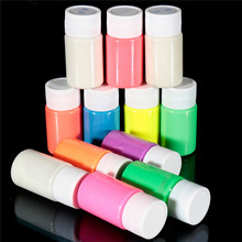 Hot 1PC 20ml Neon Fluorescent Body Paint Grow In The Dark Halloween Party Make Up Face Painting Luminous Acrylic Paints12Color