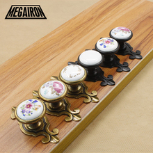 MEGAIRON Europe Simple Style Door Knob Vintage Floral Cabinet Cupboard Drawer Furniture Hardware Handle Door Pull With Screws(China)