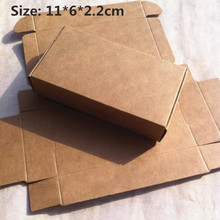 50pcs/lot 11*6*2.2cm Cute Small Kraft paper packaging Gift box Jewelry Handmade Soap Storage Box Candy Aircraft box